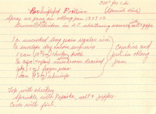 Handwritten Recipe For Spanish Casserole
