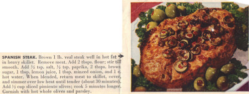 Vintage Recipe Clipping For Spanish Steak