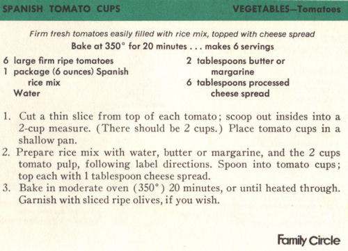 Vintage Recipe Card For Spanish Tomato Cups