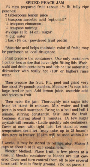 Recipe Clipping For Spiced Peach Jam