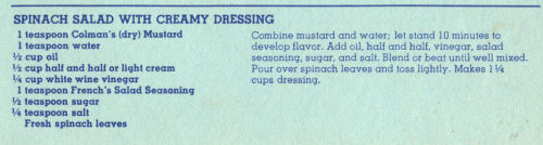 Recipe For Spinach Salad And Creamy Dressing