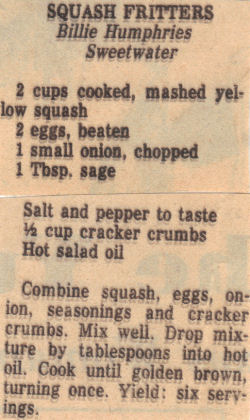 Recipe Clipping For Squash Fritters