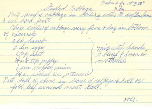 Handwritten Recipe For Stuffed Cabbage Rolls