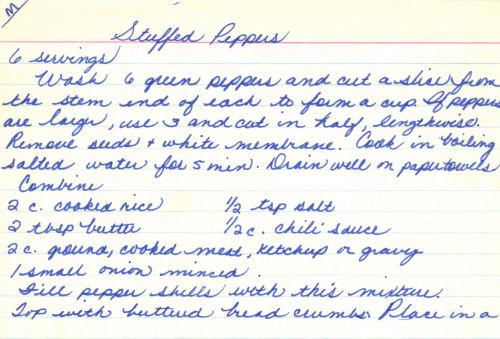 Handwritten Recipe For Stuffed Peppers