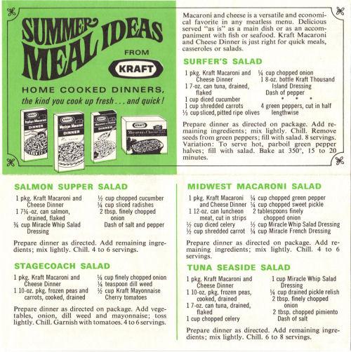 Summer Meal Ideas Recipe Sheet From Kraft Dinner