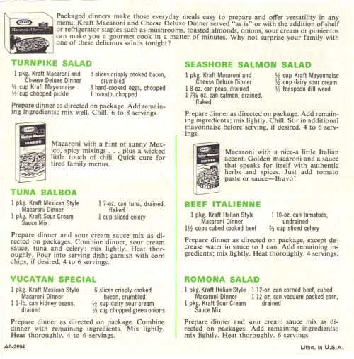Summer Meal Ideas Recipe Sheet From Kraft Dinner - Side Two