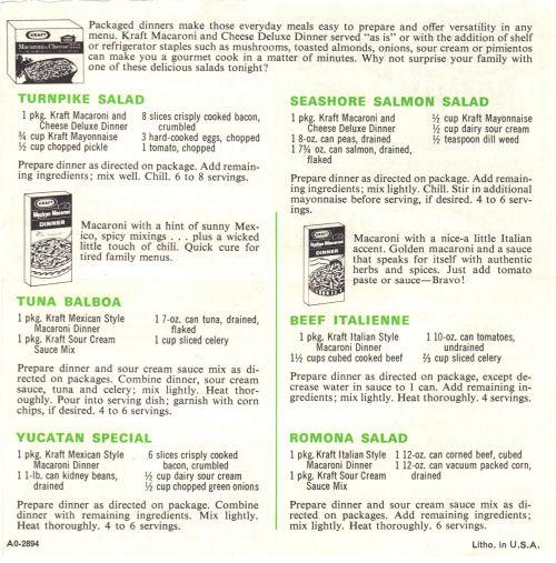 Summer Meal Ideas Recipe Sheet From Kraft Dinner - Side Two