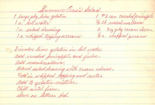 Handwritten Recipe Card For Summer Oasis Salad