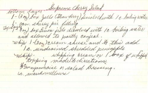 Handwritten Recipe Card For Supreme Cherry Salad