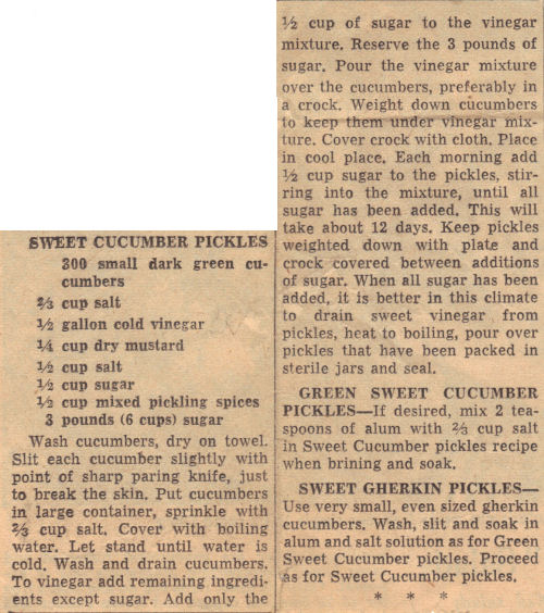 Vintage Recipe Clipping For Sweet Cucumber Pickles