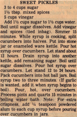 Vintage Recipe Clipping For Sweet Pickles