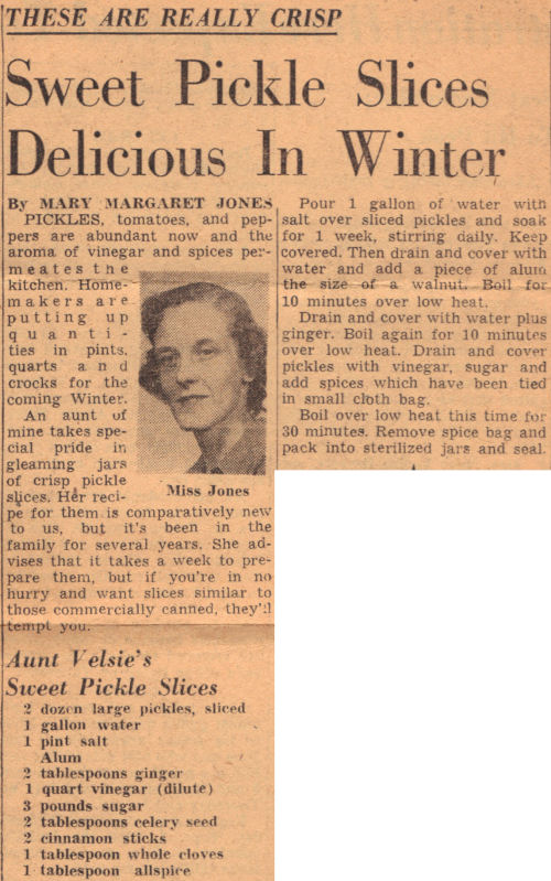 Vintage Article For Sweet Pickle Slices