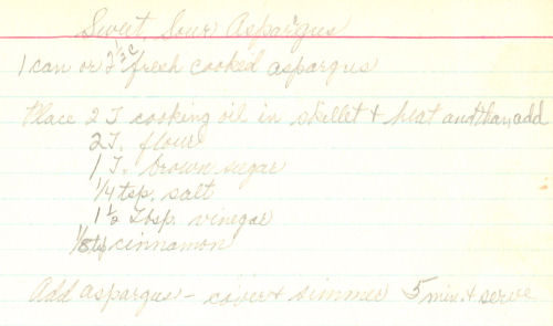 Handwritten Recipe Card For Sweet And Sour Asparagus