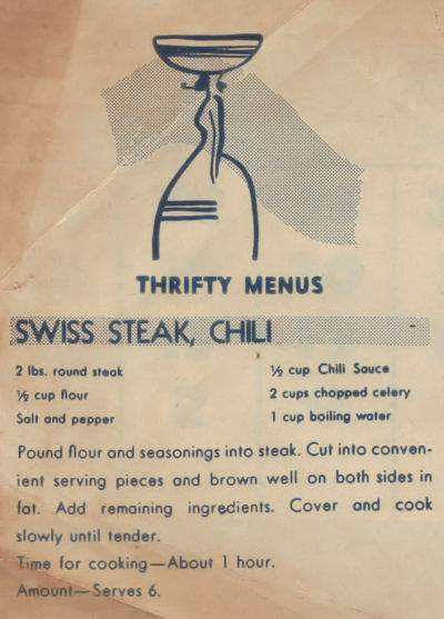 Vintage Recipe Clipping