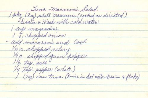 Handwritten Recipe Card For Tuna Macaroni Salad