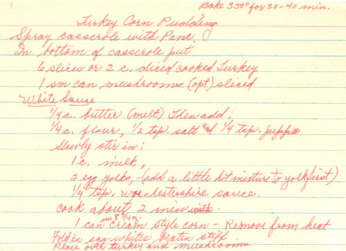 Handwritten Recipe For Turkey Corn Pudding