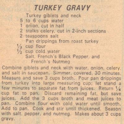 Recipe Clipping For Turkey Gravy