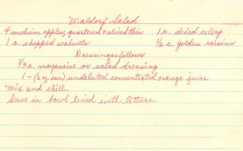 Handwritten Recipe Card For Waldorf Salad