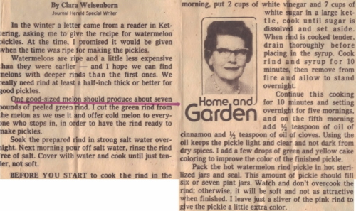 Vintage Article For Watermelon Rind Pickles