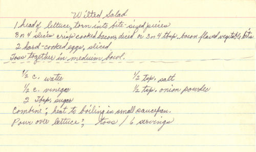 Handwritten Recipe Card For Wilted Salad