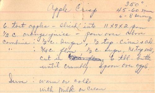 Handwritten Recipe For Apple Crisp