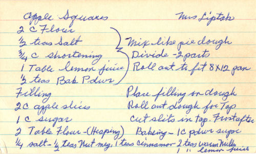 Handwritten Recipe Card For Apple Squares