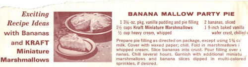 Recipe Clipping For Banana Mallow Pie