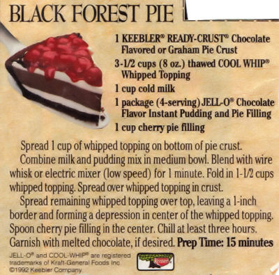 Recipe Clipping For Black Forest Pie