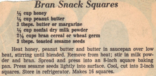 Recipe Clipping For Bran Snack Squares