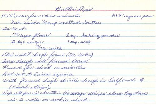 Handwritten Recipe Card For Butter Dips