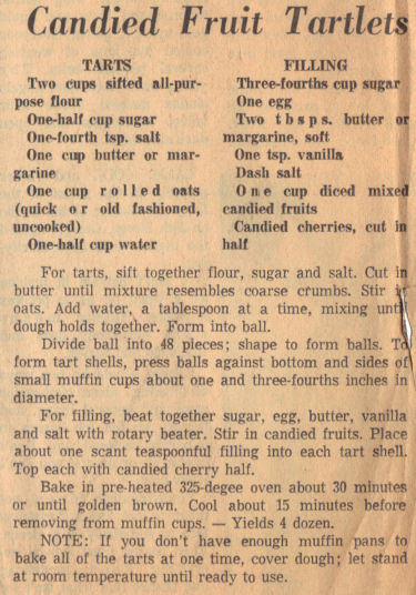 Recipe Clipping For Candied Fruit Tartlets