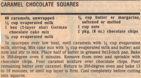 Recipe Clipping For Caramel Chocolate Squares