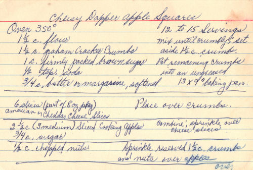 Handwritten Recipe Card For Cheesy Dapper Apple Squares