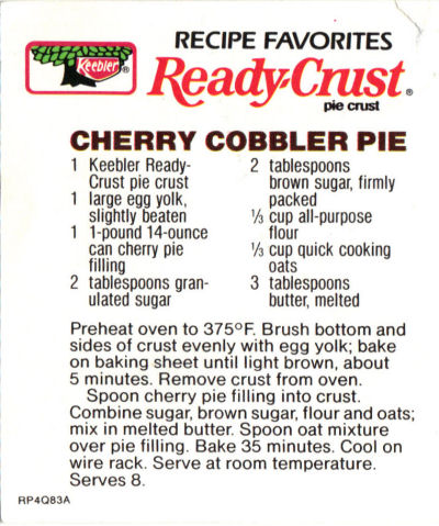 Recipe Clipping For Cherry Cobbler Pie
