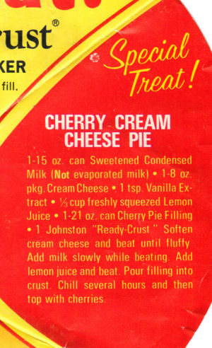 Johnston's Cherry Cream Cheese Pie Recipe Clipping