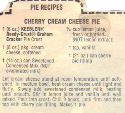 Keebler's Cherry Cream Cheese Pie Recipe Clipping
