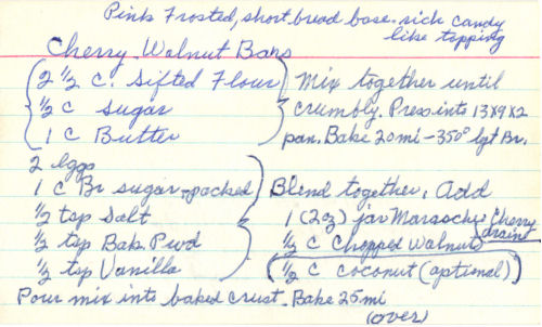 Handwritten Recipe Card For Cherry Walnut Bars