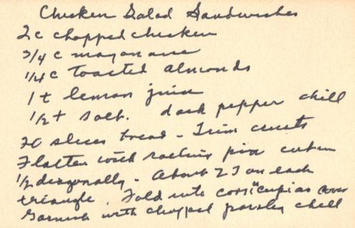 Handwritten Recipe For Chicken Salad Sandwiches