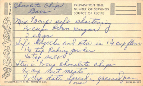 Handwritten Recipe Card For Chocolate Chip Bars