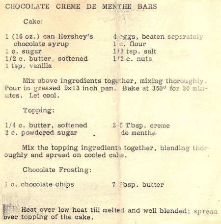 Recipe For Chocolate Creme De Menthe Bars