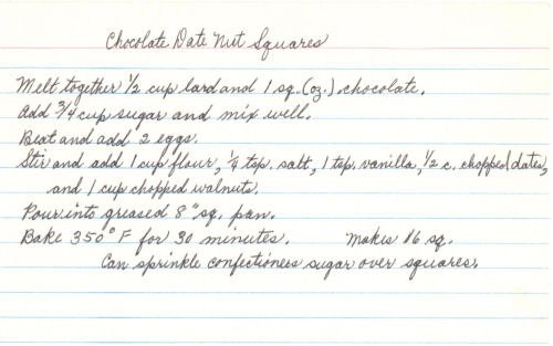 Handwritten Recipe Card For Chocolate Date Nut Squares