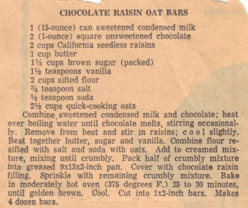 Vintage Recipe Clipping For Chocolate Raisin Oat Bars