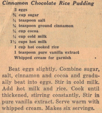 Recipe Clipping For Cinnamon Chocolate Rice Pudding