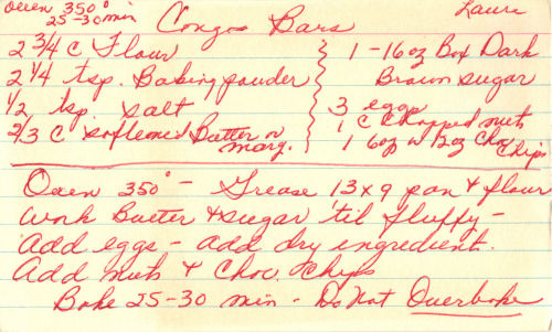 Handwritten Recipe Card For Congo Bars