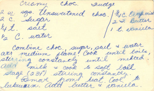 Handwritten Recipe For Creamy Chocolate Fudge