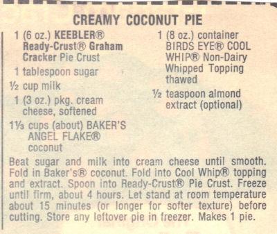 Recipe Clipping For Creamy Coconut Pie