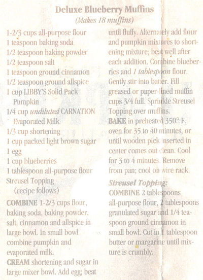 Recipe Clipping For Deluxe Blueberry Muffins