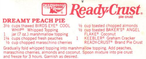 Recipe Clipping For Dreamy Peach Pie