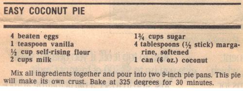 Recipe Clipping For Easy Coconut Pie