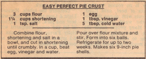 Recipe Clipping For Easy Perfect Pie Crust